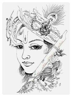 Cute Drawing Drawing Krishna Art Krishna Krishna Drawing