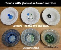 Before and after pictures of ceramic bowls with glass marbles project.entire site has great ideas. Glass Ceramic, Ceramic Clay, Ceramic Bowls, Pottery Bowls, Ceramic Pottery, Pottery Art, Ceramic Techniques, Pottery Techniques, Pottery Sculpture