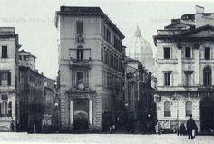 """Foto storiche di Roma - La """"punta della Spina di Borgo"""" – Non sono ancora iniziate le demolizioni. Ci troviamo all'inizio di quella che sarà poi via della Conciliazione cioè a piazza Pia."""