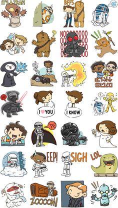 The Force Awakens with New Star Wars Stickers Star Wars Tattoo, Star Wars Quotes, Star Wars Humor, Facebook Sticker Store, Star Wars Karikatur, Chibi, Star Wars Stickers, Ultimate Star Wars, Star Wars Wallpaper