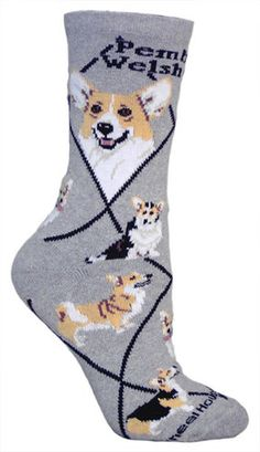 Pembroke Welsh Corgi on gray – Made in USA – Dog Socks - And they come in Men's sizes!