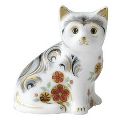 Royal Crown Derby Kitten, White adorned with flowers and swirls Figurine.