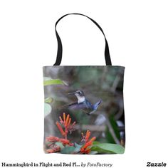 Hummingbird in Flight and Red Flowers Tote Bag