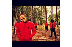 Chris Brown and some friends shows off some new Mechanical Dummy red windbreakers