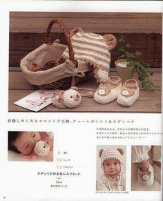 """Gorro y escarpines de """"Ositos"""" al crochet para tu bebé"""