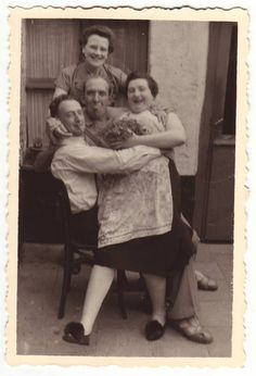 Funny family goofing around  Antique french real photo 1940's