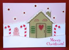 Decked Out Gingerbread House Card by @Kate Nolan-Denham featuring #Gelatinstamps #Gingerbread House #christmas