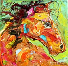 Original oil painting 6x6 Horse Portrait Palette knife by Karensfineart