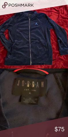 ec1c24ed864c Men s Jordan Velour Navy Blue Zip Up Jacket Never been worn Jordan Navy Blue  Velour!