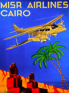 Egypt Cairo Sphinx Airplane Egyptian Vintage Travel Advertisement Art Poster