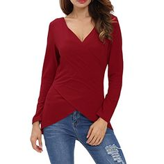Tulucky Women's Deep V Neck Tee Shirts Long Sleeve Cute Unique Cross Wrap Tops (S, red)   Special Offer: $12.99      411 Reviews Tulucky Women's Deep V Neck Tee Shirts Long Sleeve Cute Unique Cross Wrap TopsItems Measurements :SIZE S (Bust 34″-37″ ;Length...