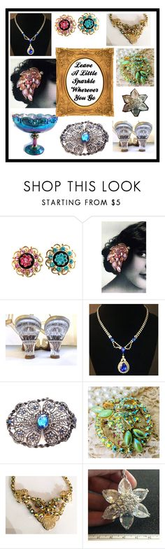 """Leave A Little Sparkle - Etsy Beauties"" by openslatecollectibles ❤ liked on Polyvore featuring vintage"