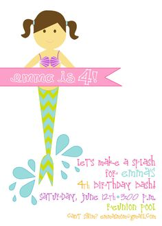 Mermaid Birthday Party Invitation by pisforpartypapers