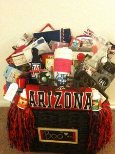 Graduation- College survival kit.  I Attached a clever note to each item.  Lots of energy drinks, study materials, college gear including everything u would need for game day.  =)