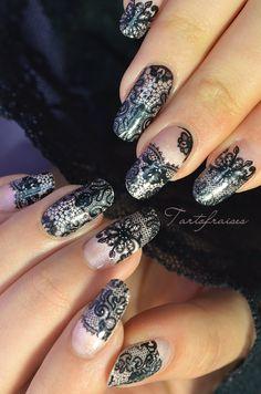 sticker dentelle - nail art