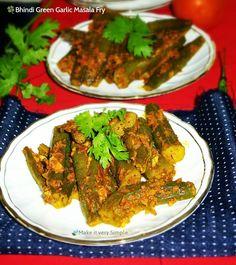 Bhindi Green Garlic Masala Fry.. (Okra / Ladiesfingers in garlic coriander paste) For sindhi bhindi green garlic masala fry , you need to make coarse stuffing of garlic, fresh coriander leaves, tomatoes and stuff this in each and every bhindi..