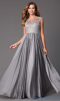 Shop beaded cap-sleeve prom gowns and long pageant dresses at Simply Dresses. Long chiffon formal gowns and sweetheart party dresses for prom.