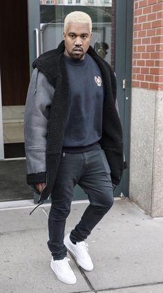 5bd7e0a7c058 Kanye West Steps Out In Yeezy Season 3 Coat, Adidas Sweatshirt And Adidas  Yeezy Season Calabasas Sneakers