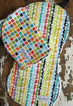 Baby Burp Cloths - Modern Beaded Curtain & Toto Block and - Set of 2 - Gender Neutral. $17.00, via Etsy.