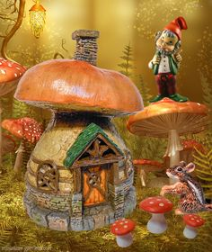 A mushroom filled mini fall fairy garden.