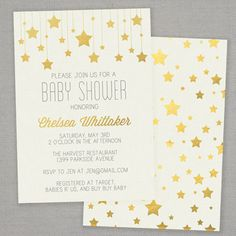 """Gold Stars"" printable baby shower invitation by Grey Square"