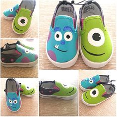 Custom Painted Shoes Monsters Inc. shoes, totally making these for my toddler! Monsters Inc. Custom Painted Shoes, Painted Canvas Shoes, Hand Painted Shoes, Custom Shoes, Disney Painted Shoes, Custom Vans, Monster Inc Party, Monster Inc Birthday, Little Presents