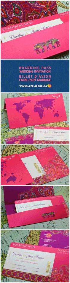 Faire-part carte d'embarquement + pochette billet... | Faire-part & Invitation Blog