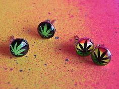 2 PAIRS Marijuana Stainless Steel Stud Earrings Pot Leaf Jewelry Mens 420