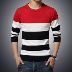 2015  new Men  stripe pullover  men's Sweater Autumn Clothing Brand Casual slim fit Pullover O Neck sweater