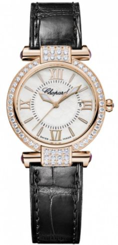 Wrap your wrist in a luxurious Chopard IMPERIALE watch. The elegant rose-gold timepiece with capped amethyst-set Roman-inspired lugs is finished with an white-gold folding clasp that enhances the cestial essence of the watch. Cool Watches, Watches For Men, Ladies Watches, Swiss Luxury Watches, Chopard, Watch Sale, Quartz Watch, Fashion Watches, Gold Watch