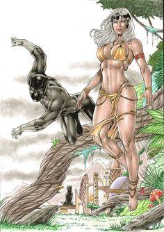Storm and Black panther by Medsonlima on DeviantArt Marvel Heroes, Marvel Comics, Black Panther Storm, Storm Comic, Divas, Wolverine Art, Avengers, Original Art, Comic Books