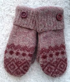 Women's Maroon with Design Wool Repurposed Snowflake Sweater Mittens Size Small with Maroon Fleece Lining and Maroon Buttons Ready to Ship by SewforYou on Etsy