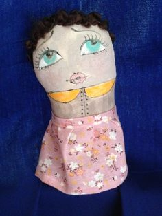 Unrequited love. Art doll. Textile, mixed media, fabric and paint, hand stitch.