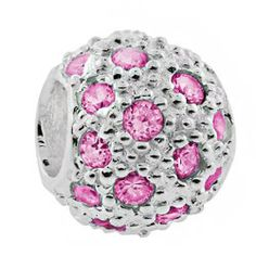 Pave ball with pink cubic zirconias ~ Carlo Biagi charm bead - Be Charmed Jewellery £17.50