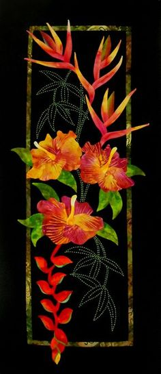 Complete Sashiko Embroidery Kits, Panel Quilt Kits & Applique Kits from Sylvia Pippen Designs Hawaiian Quilt Patterns, Applique Quilt Patterns, Hawaiian Quilts, Applique Designs, Quilting Designs, Applique Fabric, Sashiko Embroidery, Japanese Embroidery, Tropical Quilts