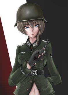 Krieger (my mascot) by on DeviantArt Anime Girls, Anime Art Girl, Anime Military, Military Girl, Anime Figures, Anime Characters, Guerra Anime, Military Drawings, Female Soldier