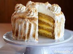 Attach cake with lemon and meringue Cheat Meal, Meringue, Party Cakes, No Bake Cake, Vanilla Cake, Cake Recipes, Lemon, Favorite Recipes, Meals