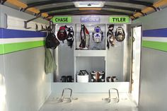 One of my favorite front storage setups. I'd like a top shelf for helmets and use the bottom areas for heavier items like spares bin and toolbox