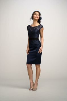 Lace crew neck bridesmaid dress...this is different but I kind of like it