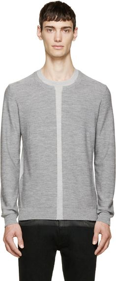 McQ Alexander McQueen Grey Two-Tone Wool Sweater
