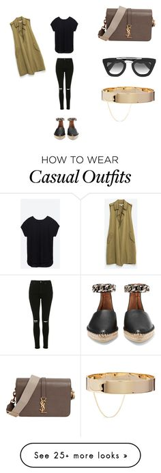 """Casual with a twist of khaki"" by diary-of-a-fashionista on Polyvore featuring Givenchy, Yves Saint Laurent, Topshop, Prada and Eddie Borgo"