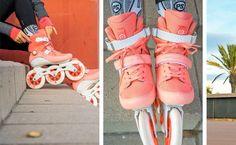 Patines color coral en línea. Love it ❤️ Roller Skate Shoes, Roller Disco, Roller Derby, Roller Skating, Ice Skating, Rolling Skate, Fashion Wheel, Skate 4, Speed Skates