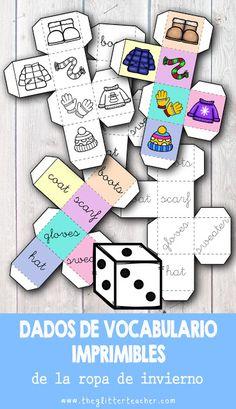 Winter clothes printable dice in colour & black/white