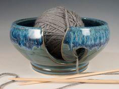 Yarn / Knitting Bowl  flowing soft blue glaze  by SeizPottery