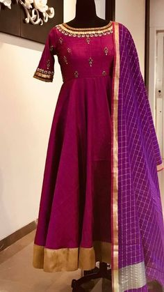 Beautiful purple color floor length anarkali dress with purple checked dupatta. ananrkali dress with hand embroidery gold thread and kasu work on yoke and neck line. Ready to ship.To order whatsapp 17 May 2018 Anarkali Dress With Price, Designer Anarkali Dresses, Salwar Dress, Designer Dresses, Anarkali Suits, Salwar Kameez, Ethnic Outfits, Indian Outfits, Indian Attire