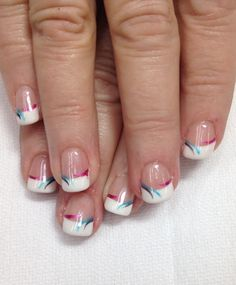 Fun accent colors on a Classic white French gel nail. All gel is non-toxic and odorless.