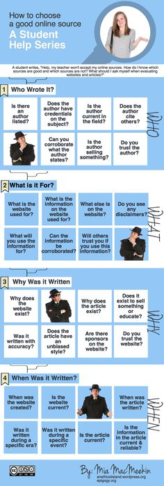 """Students often ask how to determine which websites and articles are good sources to cite. My answer is always, """"Well, what do you think?"""" Students need to be able to think on their own. So, if your..."""