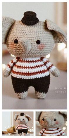 Amigurumi The Friendly Elephant Free Pattern – Free Amigurumi Patterns Crochet Stitches Free, Crochet Patterns Amigurumi, Crochet Blanket Patterns, Crochet Toys, Cute Crochet, Crochet Baby, Invisible Decrease Crochet, Cute Toys, Free Pattern