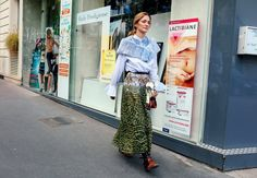Sofia Sanchez de Betak in a Valentino top and skirt with Prada shoes