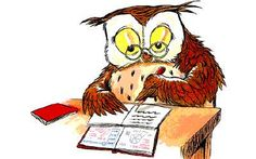 writing owl (illustrator unknown)
